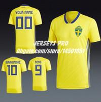 6283d9de515 Soccer Jersey Sweden 2018 World cup Home Shirts Zlatan Ibrahimovic Emil  Forsberg Albin Ekdal Sebastian Larsson Marcus Berg Fredrik Ljungberg