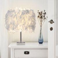 Wholesale Bulb Desk Lamp - Feather Light Antique Noble Table Lamp Romantic LED Bedside Classical white Feather Desk Night Light #03