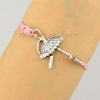 Wholesale Dance Charms Silver - Newest Simple Silver Ballet Dancer Ballerina Rope Bracelets & Bangles For Belly Dance Lovers Bracelet For Best Friend Gift-Drop Shipping