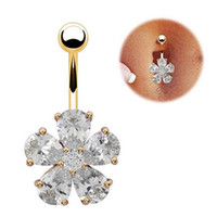 Piccante! Cubic Zirconia Navel Belly Button Barbell fiore di cristallo gioielleria Anello Piercing