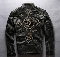 Wholesale Genuine Sheepskin Jackets - Man motorcycle jacket Edging with Vintage Stamped Croatian cross First layer of genuine leather Men's Outerwear coats