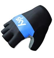 Wholesale fingerless padded gloves - 2017 team sky Cycling Gloves Bike Sport Gloves Guantes Ciclismo GEL pad Shockproof Gants Half Finger Bicycle gloves
