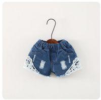 Wholesale korean short jeans style - Summer Children Denim Shorts Korean Girl Lace Shorts Kid's Jeans Hot Pants 90-130 Size 5pcs lot Factory Sale Child Clothing wave