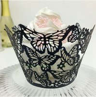 Wholesale Holiday Cupcake Wrappers - Baby shower cupcake wrapper wedding cupcake decorations peal paper butterfly laser cutting hollow muffin cupcake accessary free shipping
