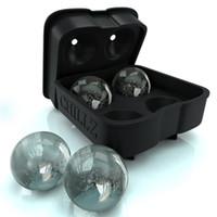 ingrosso sfere flessibili in silicone-Stampo per sfera di ghiaccio - Vassoio di ghiaccio in silicone flessibile nero - Stampi 4 sfere rotonde per sfere di ghiaccio da 4,5 cm