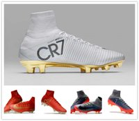 Wholesale Massage Boots - 2017 Soccer Cleats High Quality Mercurial Superfly V FG CR7 football boots Young Youth Soccer Shoes Ronaldo High Ankle New Soccer Shoes