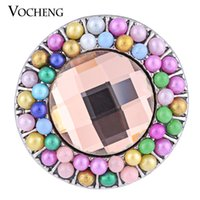 Wholesale Glam Alloy - VOCHENG NOOSA 18mm Glam Colorful Bead Ginger Snap Charm Interchangeable Jewelry Vn-1124