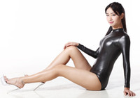 Wholesale Sexy Exotic Dance Wear - Wholesale-200D Latex Sexy Bodysuit Catsuit Thong Body Suits For Women Long Sleeve Club Wear Bodies Night Dance Wear Exotic Style