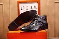 Wholesale H Shoes Men - Fashion Brand H Men's Ankle Boots Italy Driving Shoes Knight Men's Loafers Wedding for Mens Hook & Loop