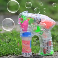 Wholesale Blow Plastic Bubbles - Electric transparent bubble gun blowing bubbles double bottle of water flash music spread toy wholesale