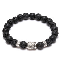 Wholesale Natural Stone Silver Charm Rings - Men's Women's Diffuser Jewelry Anti-fatigue Silver Buddha Lava Natural Stone Charms Bracelets Volcanic Rock Prayer Beads Bracelet