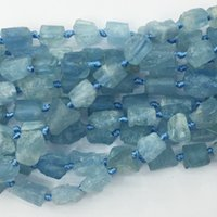 "Wholesale Blue Stone Mineral - AAA Natural Genuine Raw Mineral Clear Water Blue Aquamarine Hand Cut Nugget Free Form Loose Rough Matte Faceted Beads 6-8mm 15.5"" 05351"