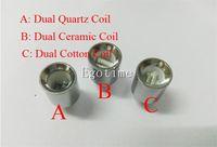 Wholesale Double Cartomizer - Update Dual wax coils for cannon vaporizer atomizer vape double coil dual coil Quartz Ceramic rod wax Glass globe metal vase cartomizer