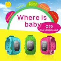 ingrosso vigilanza di emergenza per i bambini-Kid GPS Tracker Safe Smart Watch Phone Bambini SOS Emergency orologio da polso GSM SIM Sports Watches Q50 Anti-perso Wearable Bracelet Xmas Gift