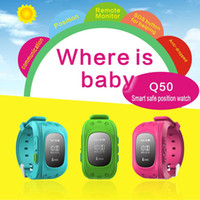 Wholesale Gsm Red - Kid GPS Tracker Safe Smart Watch Phone Children SOS Emergency Wristwatch GSM SIM Sports Watches Q50 Anti-lost Wearable Bracelet Xmas Gift