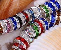 Wholesale Wholesale Jewelry Spike Bracelet - 8mm 10mm 200 pcs lot mixed random color hot best Crystal Rondelle Spacer Beads, Gold Plated Jewelry Rondelle Spacer Loose Bead fit bracelet