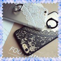 Wholesale Hard Leather Pouch Patterns - Hot VS secret Black Lace floral Pattern Case Rose Lace Ring Phone Cover For iPhone 7 6 6s plus Hard Back Cover Cases