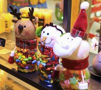 2016 en gros Tasses de décoration de Noël transparente Santa Claus Snowman Elf Candy jars Candy mugs for kids