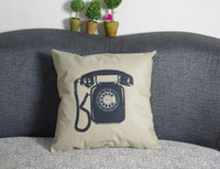 Wholesale Old Case Cover - 1x Vintage Cushion Cover Old Telephone Composite Linen Throw Pillow Case 42x42cm