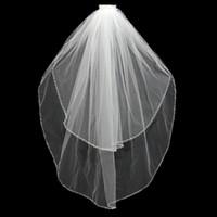 çift düğün peçe toptan satış-2016 Beyaz Beyaz / Fildişi Dirsek Gelin Çift El Dikiş Boncuk Kenar Veil Gelin Veil Düğün Veil Gelin Dekorasyon Malzemeleri Sözleşmeli