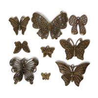 zinklegierung rhodium überzogen großhandel-Freie Zinklegierungs-Antike-Bronze des Verschiffens 38pcs / lot überzogene Schmetterlings-Charme-Weinlese-tibetische Anhänger DIY Armband-Halskettenschmucksachen,