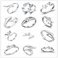 Wholesale mix silver jewerly - 925 Sterling Silver Jewerly Rings Dolphins Dragonfly Wings Of The Angel Love Fox Butterfly Opening Adjustable Ring For Women