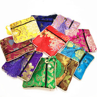 Wholesale High End Wholesale Jewelry Bags - High End Small Zipper Coin Purse Silk Brocade Fabric Jewelry Gift Bags Tassel Bracelet Storage Pouch Wedding Party Favor 50pcs lot