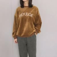 новые корейские толстовки с капюшоном оптовых-Новый стиль осень пуловер Толстовки женщины толстовка Корейский милые письма вышивка Эй Джуд Harajuku женщин толстовка одежда