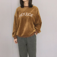 camisola coreana bonito venda por atacado-Novo estilo Outono Pulôver Hoodies Mulheres Hoodie Letras Bonitas Coreano Bordado HEY JUDE Harajuku Mulheres Camisola Roupas