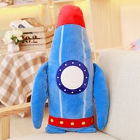 Compra Decorazione Dell'aeroplano-Blue Rocket Peluche Ripiene Peluche Cuscino 23.4 '' Bedroom Sofa Decor Cuscino Kids Boys Huggable Bolster Giocattolo Aeroplanino HANCHENTE