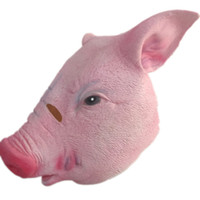 Wholesale Pig Costume Adult - Halloween Pink Pig Latex Mask Cute Cartoon Masquerade Party Costume props Full Face Pet Pig Masks