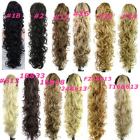 extensions de cheveux ondulés achat en gros de-Claw Clip Ponytails cheveux synthétiques queue de cheval Culry cheveux ondulés morceaux 31 pouces 220g extensions de cheveux synthétiques femmes mode