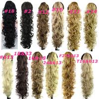 saç uzantıları dalgalı at kuyruğu klip toptan satış-Pençe Klip Ponytails sentetik saç at kuyruğu Culry dalgalı saç parçaları 31 inç 220g sentetik saç uzantıları kadın moda