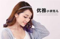Wholesale Headbands Korea - Free Shipping Korea Women Simple Gradient Color Broadside Rhinestone Headband Dazzling Acrylic Head Hoop For Girl Glitter Boutique Hair Bows