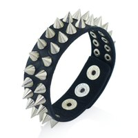 Unisex spikes bracelet leather - Gothic Delicate Cuspidal Spikes Rivet Cone Stud Cuff Black Leather bracelets bangles Punk Bracelet for women men jewelry S266