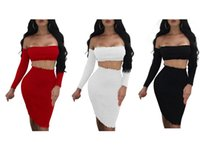 Wholesale White Dress Black Chest - Sexy Nightclub Skirts Women's Two Piece Sets Knitwear skirt Wrapped in a chest collar in the skirts Two Piece Dress