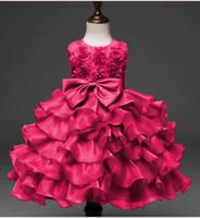 ingrosso beauty mini dresses-Vestiti del bambino di bellezza per il vestito di prua del nodo dell'arco di compleanno grande Vestito da principessa del fiore di disegno delle rose della ragazza infantile corta