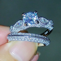 Victoria Wieck Jóias de Luxo Impressionantes Round Cut 925 Sterling Silver Simulated Diamond Wedding Engagement Finger Women Ring Set Size5-11