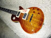 guitarras electricas de caoba al por mayor-China Guitarra Tiger Flame Maple Top Custom Shop Brown Mahogany Body 1959 R9 Guitarra Eléctrica Envío gratis