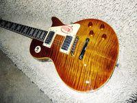 loja de carroçaria navio china venda por atacado-China Guitarra Tigre Chama Bordo Top Custom Shop Brown Mahogany Corpo 1959 R9 Guitarra Elétrica Frete Grátis
