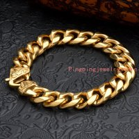 "Wholesale 14mm Stainless Steel Curb Chain - 8.66""*14MM 74g Best Quality Cool 316L Stainless Steel 18K Gold Tone Curb Cuban Chain Men's Boy's Bracelet Bangle Cool Jewelry High Quality"