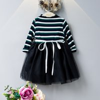 Wholesale Girls Dress Wholesales Korea - Fashion Girls Stripe Tutu Dresses with Ribbon 2017 Fall Kids Boutique Clothing Korea 3-8Y Little Girls Long Sleeves Cotton Tulle Dresses