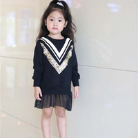 Wholesale Black Chevron Dress - Sequin Dress Chevron Princess Dresses Girl Dress Cute Dresses 2016 Autumn Long Sleeve Dresses Children Clothes Kids Clothing Lovekiss C29154