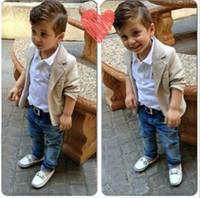 Wholesale Designer Kids Shirt - Spring Autumn boys 3pcs suit Gentleman Suit Shirt Jackets Jeans Baby Boys Clothes For Kids Designer Childrens Clothing Set