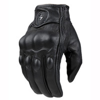 Wholesale black leather gear - Top Guantes Fashion Glove real Leather Full Finger Black moto men Motorcycle Gloves Motorcycle Protective Gears Motocross Glove