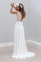Wholesale Ella Wedding - 2016 Chiffon Beach Wedding Dresses Cheaper Sexy Ella Lace V-Neck Top With Chiffon Dresses Brldal Gowns Keyhole Back