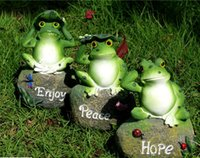 outdoor frog statues - decoration outdoor Frog Sitting Stone Resin Crafts Miniature Garden Decoration Green Animal Statue Outdoor Home Decor High Quality