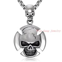 Wholesale Mens Stainless Steel Skull Pendants - Wholesale 2016 New Hot Sale Fashion Jewelry Cool Skull Chain Mens Stainless Steel Necklaces & Pendants For Men boys
