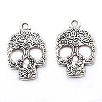 Wholesale 100pcs Trendy Rhinestone Alloy Skull Head Tones Skull Jewelry Findings Pendant Charms For DIY Making