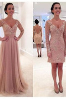 Wholesale Cheap Hijab - Dusty Pink Lace Hijab Evening Dresses with Detachable Skirt V Neck Long Sleeve Cheap Latest Gown Design Formal Prom Dressess